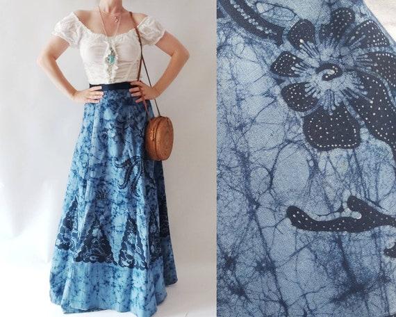 Vintage Batik Maxi Cotton Skirt