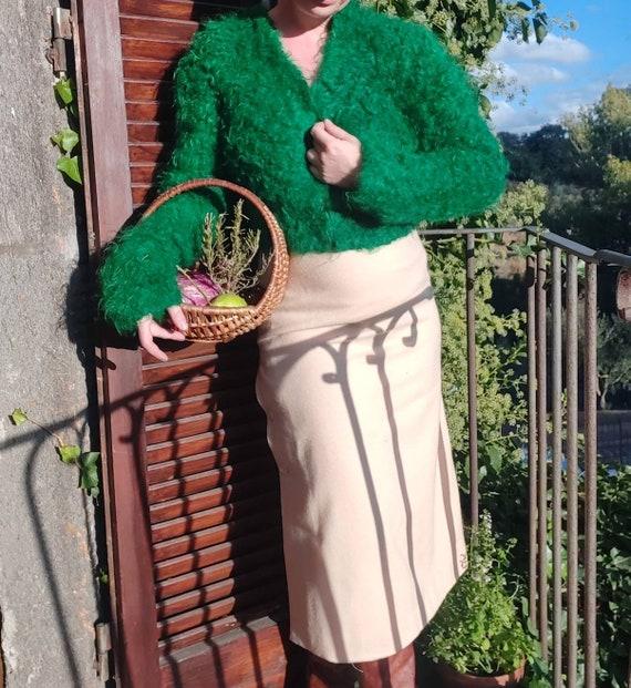 Vintage Curly Wool Cardigan