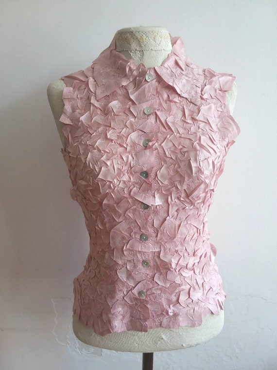 Vintage 70s Pink Wrinkled Silky Top ~ Made in Paris