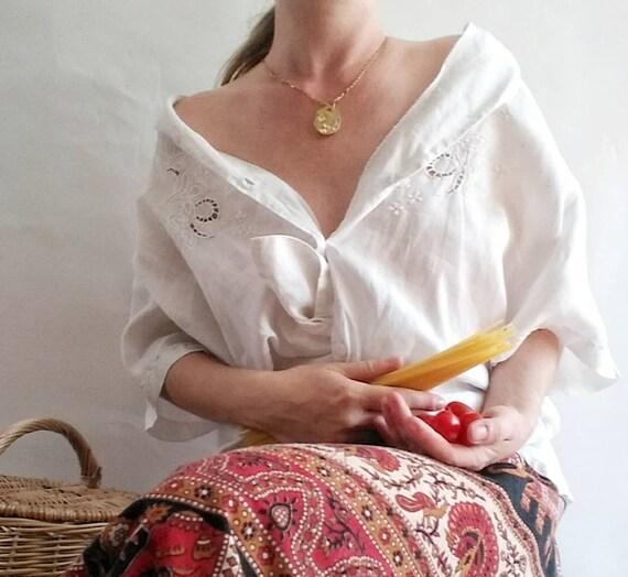 Vintage Embroidered White Linen Shirt ~ Crochet Details