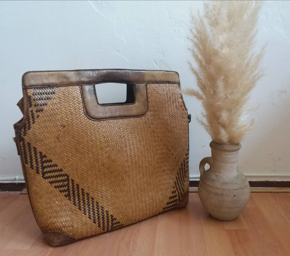 Vintage 70s Rattan Bag ~Wicker and Leather Squared Bag ~ Country Bohemian