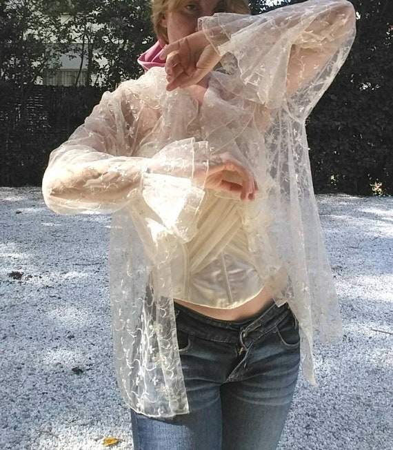 Vintage 70s Ruffled Sheer Blouse ~ Bell Sleeves ~ Embroidered Tulle ~ Bohemian Style