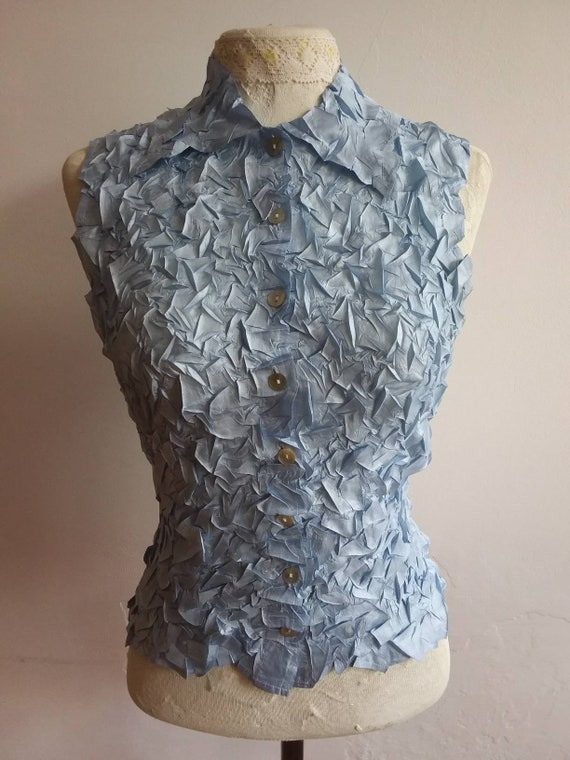 Vintage 70s Blue Wrinkled Silky Top ~ Made in Paris