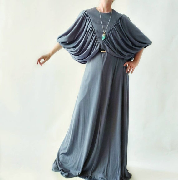 Vintage 70s Bohemian Maxi Dress with Butterfly Pleated Cape