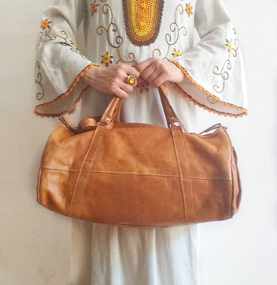 Vintage 70s Leather Travel Bag ~ Made in Morocco