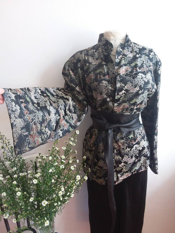 Vintage 40s Silk Kimono ~ Wide Sleeves ~  Handmade in China
