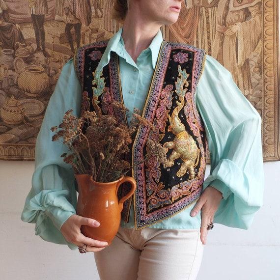 Vintage 70s Embroidered Velvet Waistecoat