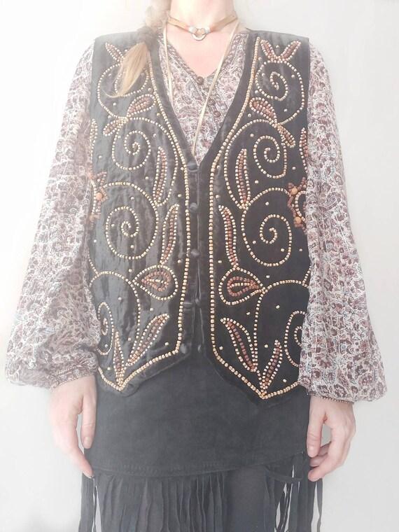 Vintage 70s Velvet Vest with Wooden Embellishment