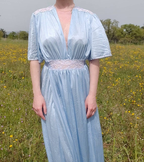 Vintage 70s Blue Maxi Dress or Night Gown