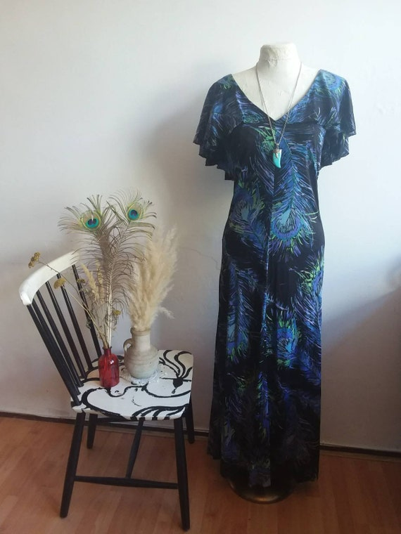 Vintage 70s Bohemian Dress ~ Blue Maxi Dress with Ruffle Cape on the back ~ Peacock Feathers Print ~ Hippie Boho Chic