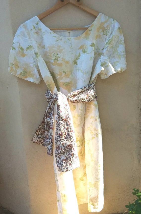 Vintage 80s Linen Dress by Laura Ashley ~ Floral Watercolour Pastel Yellow ~ Made in Great Britain