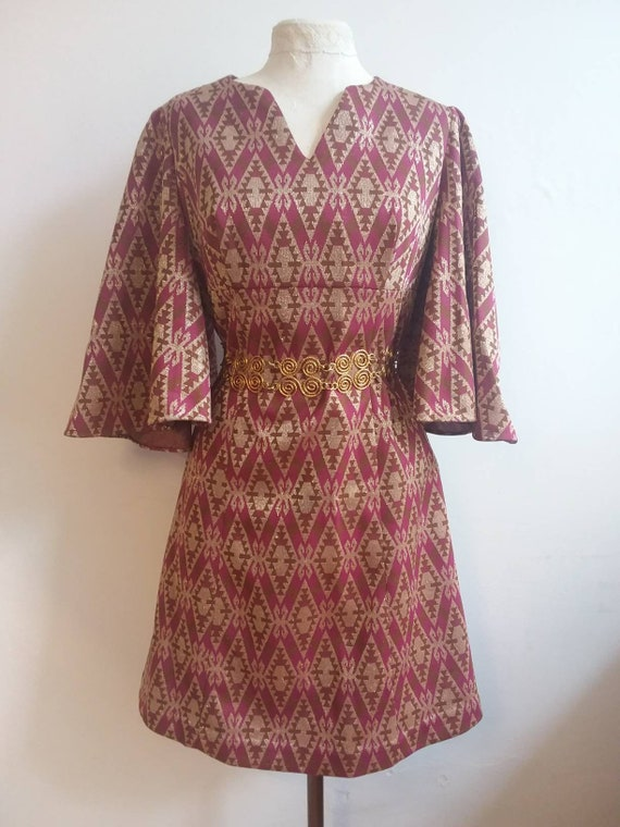 Vintage 60s/70s Dress in Lurex with Maxi Angel Sleeves ~ Bohemian Style