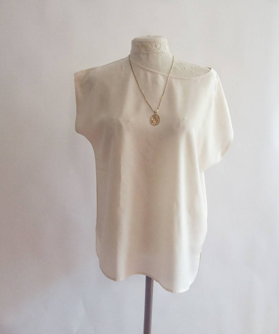 Vintage White Shirt ~ Pure Silk ~ Minimal Chic