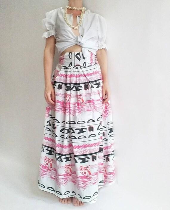 Vintage 50s Cotton Wrap Skirt ~ Tribal Print