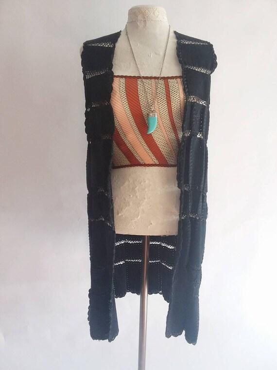 Vintage 70s Suede Leather Crochet Vest ~ Bohemian Festival Style