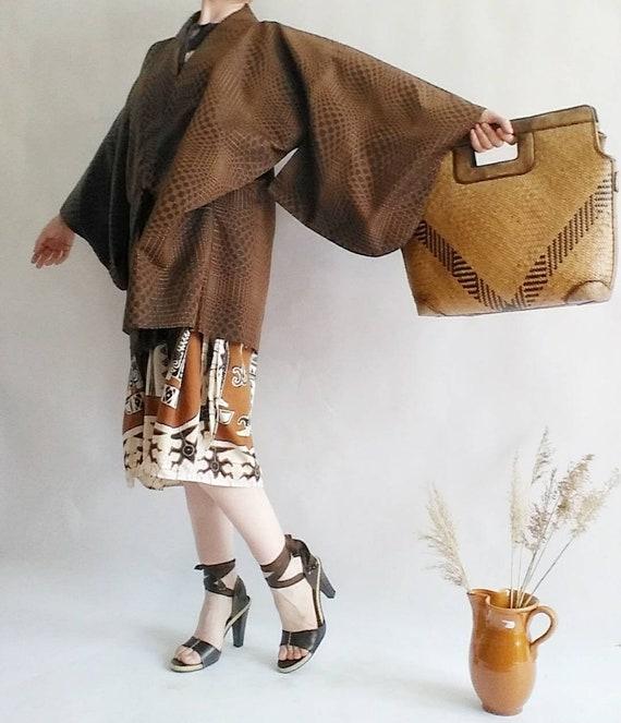 Vintage 40s Haori Kimono ~ Brown Silky Jacket
