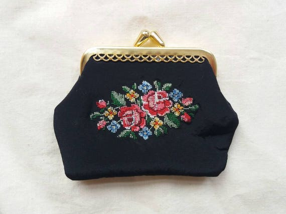 Vintage 50s/60s Embroidered purse - Needle point floral Embroidery - Portamonnè - Bohemian Style
