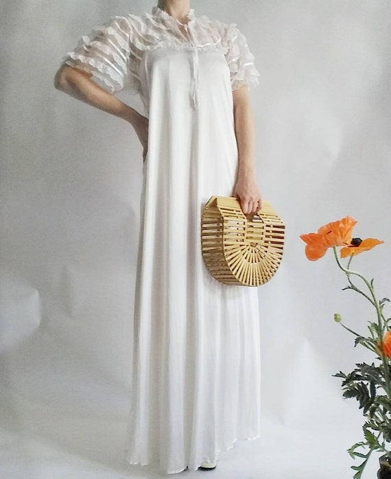 Vintage 70s/80s White Gown Dress with Laces