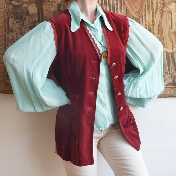 Vintage Velvet Waistcoat with Fringes ~ Made in It