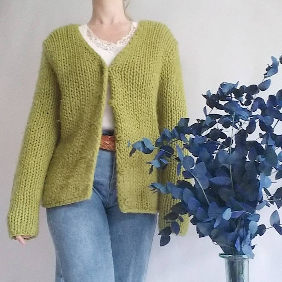 Vintage Green Cardigan Handknitted in Pure Wool