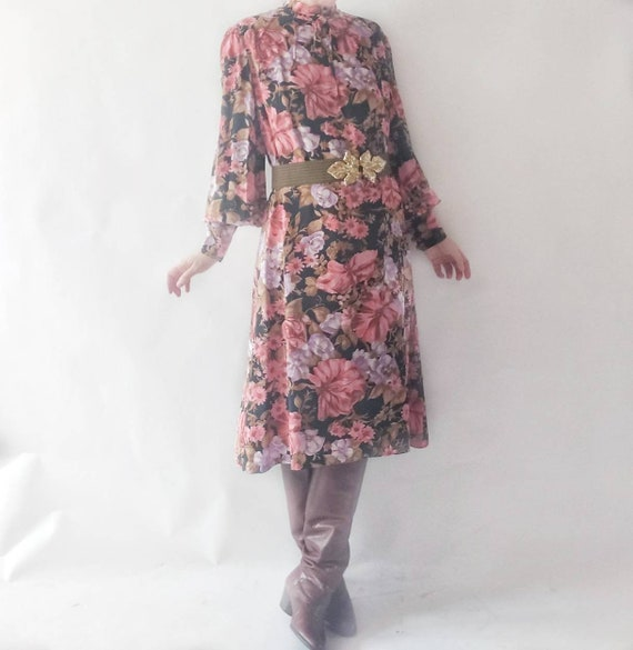 Vintage 60s/70s Silk Floral Dress ~ Bohemian Tailored Dress