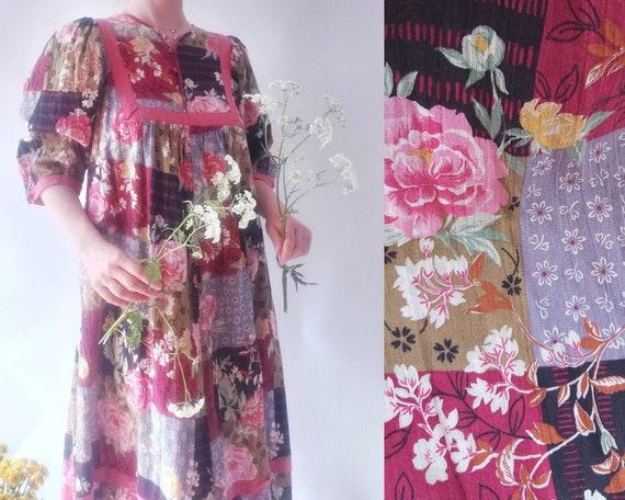 Vintage 70s Gauze Cotton Dress
