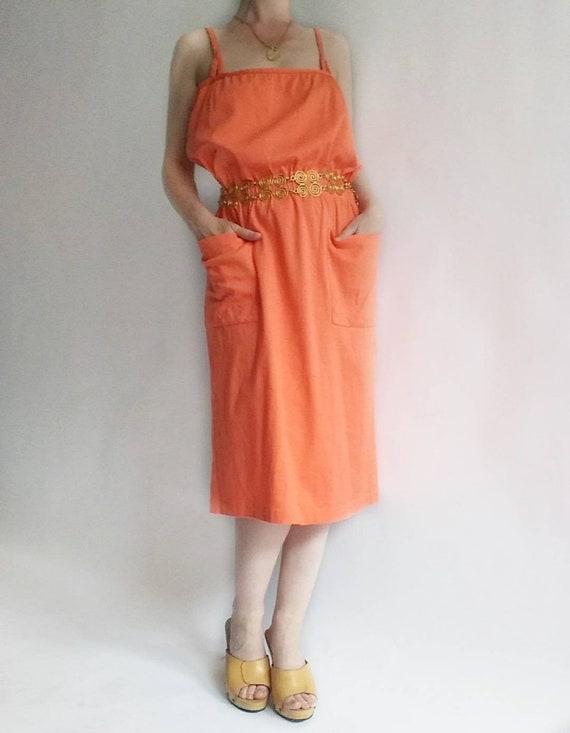 Vintage 80s Coral Slip Cotton Dress ~ Made in Italy