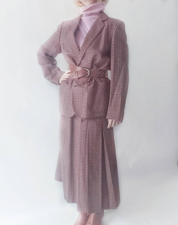 Vintage 70s/80s Checked Wool Suit ~ Skirt and Blazer