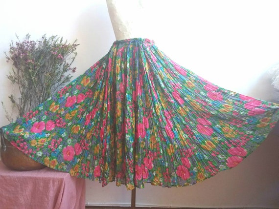 Vintage 70s Gauze Cotton Floral Skirt ~ Handmade in India ~ Monet Inspired ~ Bohemian Style