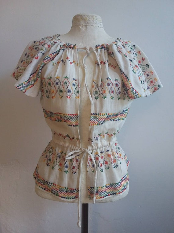 Antique Mexican Embroidered Top ~ in Cotton Gauze ~ Boho Frida Style