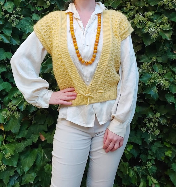Vintage Yellow Wool Vest