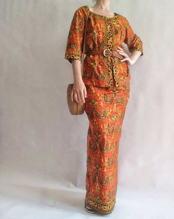 Vintage 70s Batik Dress ~Two pieces ~ Made in Indonesia