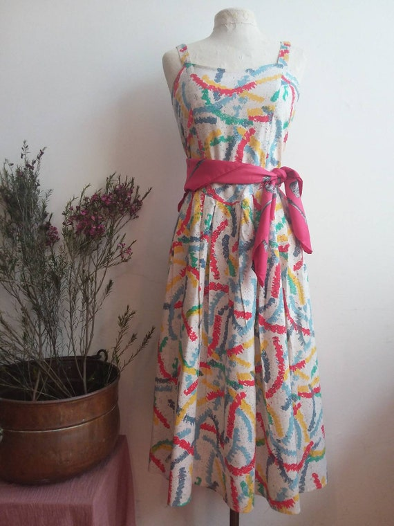 Vintage 50s Cotton Dress ~ Handmade White and colorful Dress ~ Jamboree Style