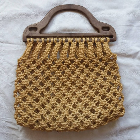 Vintage 60s/70s Net Macrame Raffia Bag with Handles ~ Bohemian Chic Summer Bag ~ Birkin Style
