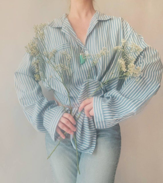 Vintage White and Blue Stripped Cotton Blouse