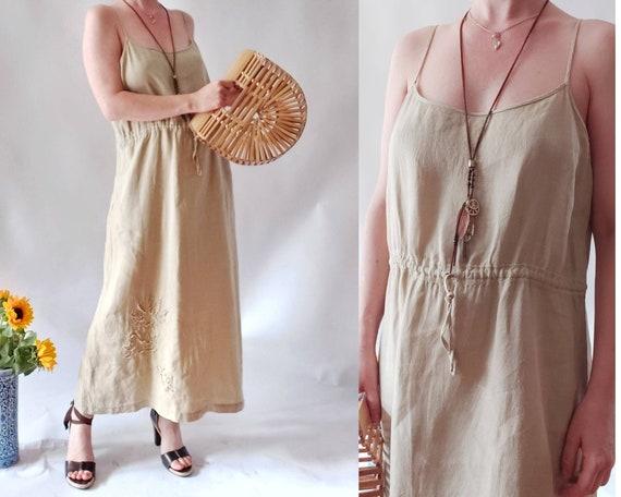 Vintage 90s Slip Dress in Linen