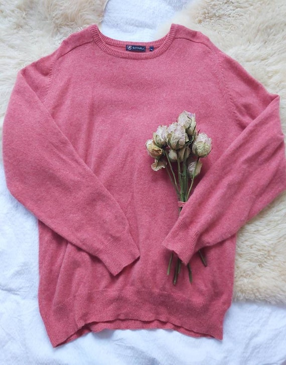 Vintage Terracotta Pink Sweater ~ Pure Lambswool