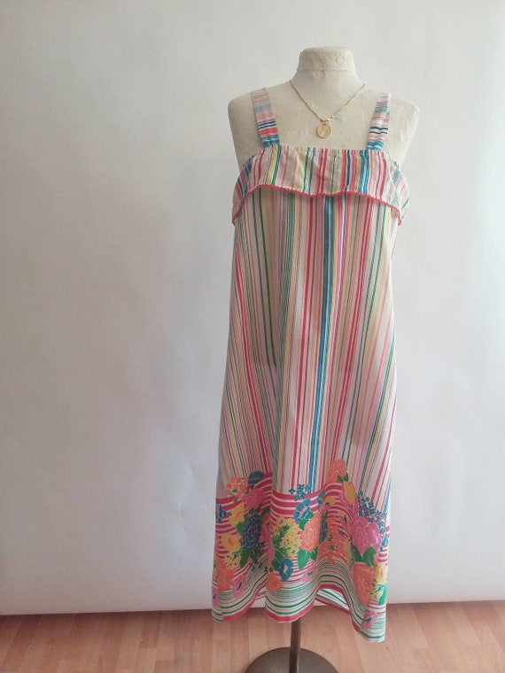 Vintage 70s Cotton Sundress with Ruffled Top ~ Made in U.S.A