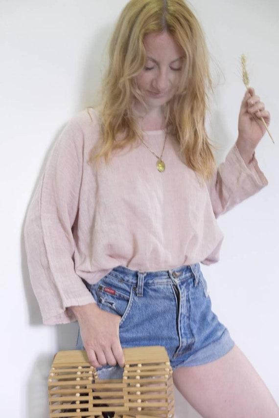 Vintage 90s Gauze Cotton Shirt ~ Pink Quartz ~ Minimal Style