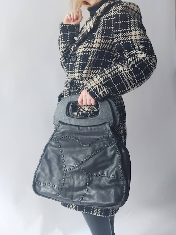 Vintage 70s Black Leather Bag