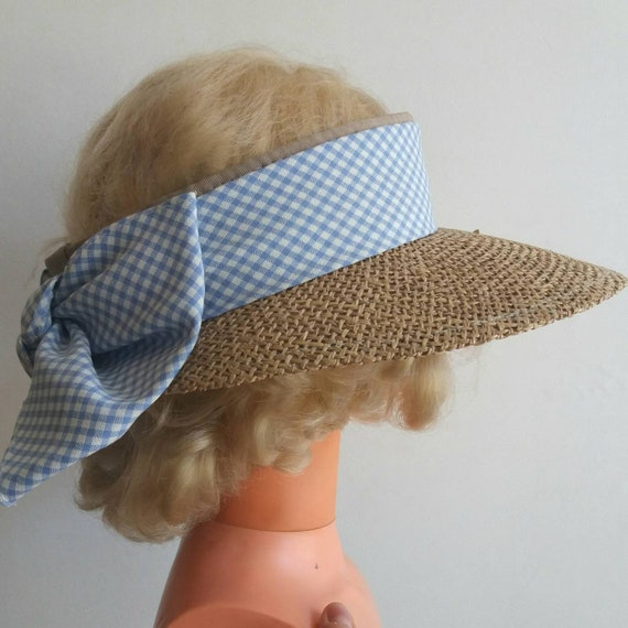 Vintage 60s Straw Hat with Vichy Cotton Bow ~ Bardot Style ~ French Summer