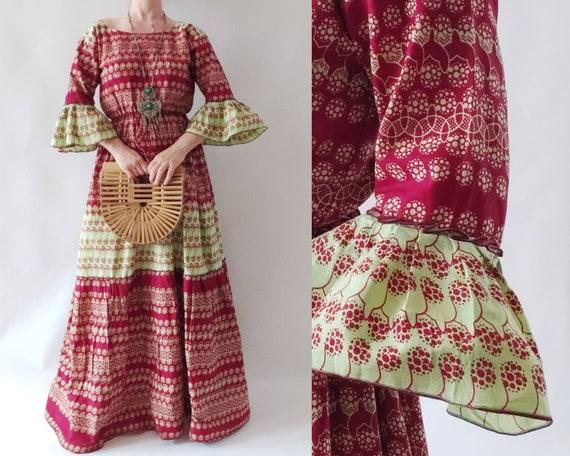 Vintage Ethnic Maxi Cotton Dress
