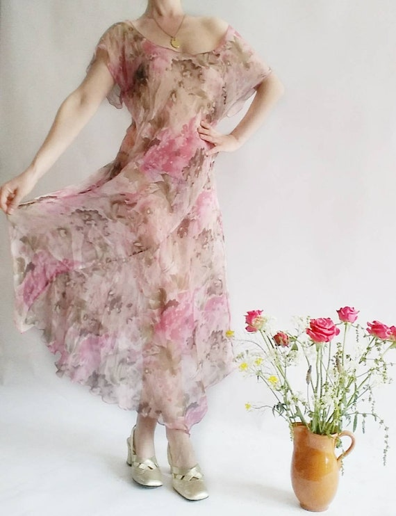 Vintage 90s does 30s Sheer Dress ~ Pure Silk ~ Made in Italy