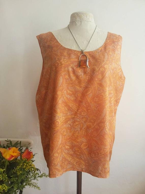 Vintage 60s Silk Camisole ~ Orange Psychedelic Print