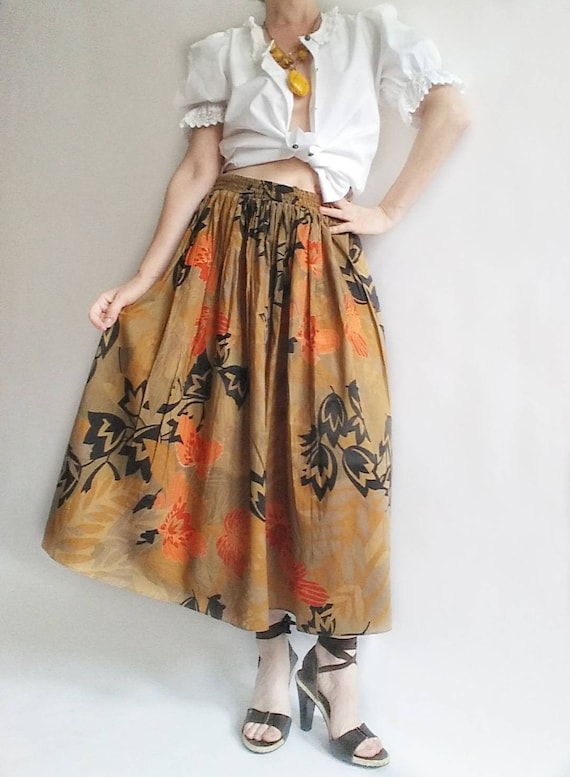 Vintage 60s Cotton Skirt ~ Tropical Orange Print on Brown
