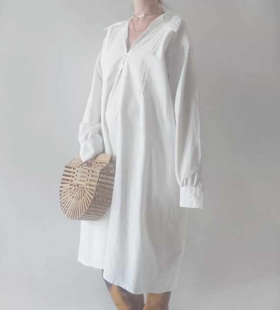 Maria ~ Antique White Cotton Dress - image 2