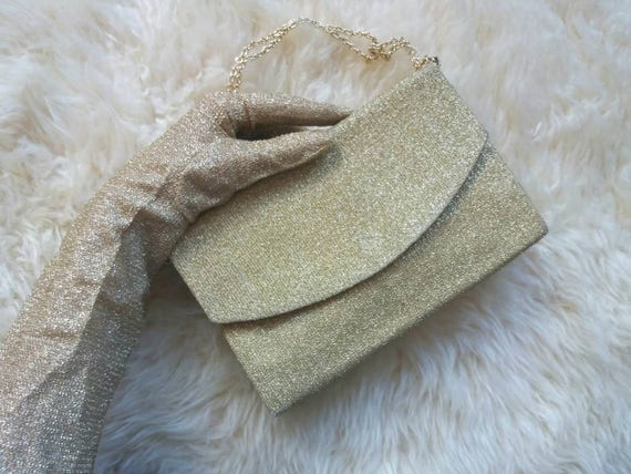 Vintage 70s Golden Lurex Gloves and Pochette Bag ~ Night clutch and gloves ~ Glam Sparkling Style