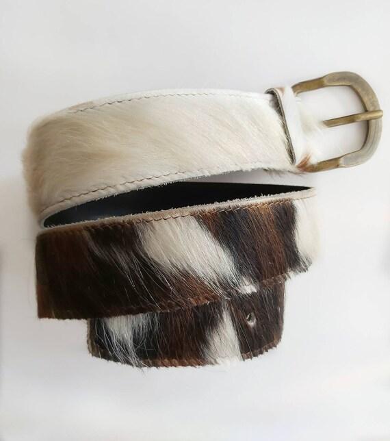 Vintage 70s Calfhair Belt ~ Genuine Leather