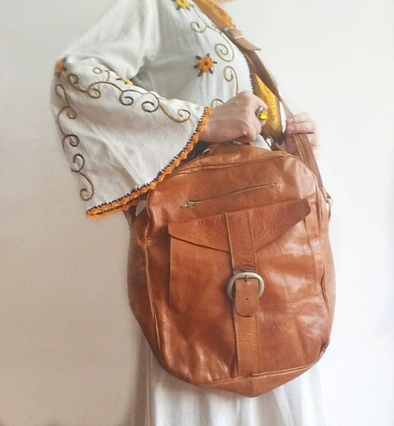 Vintage 70s Leather Bag ~ Handmade in Morocco