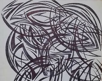 Original Abstract Drawing, Modern Drawing, Abstract Art, Geometrical Art